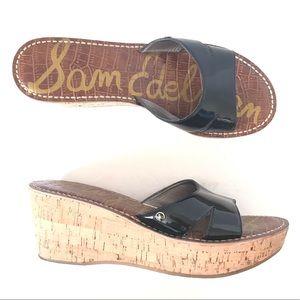 Sam Edelman Reid Black Leather Cork Slides Sandals